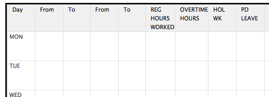 Time sheet using Table Control