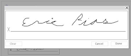 Signature Entry Dialog