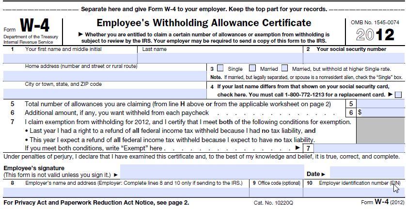 Generate Federal W4 PDF